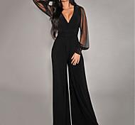 abordables -Combinaison-pantalon Maille Patchwork Femme Couleur Pleine basique Noir S M L XL XXL 3XL