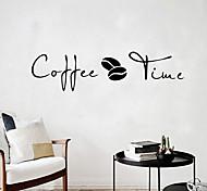 abordables -café temps stickers muraux moderne café art décalcomanie cuisine café bureau fond amovible murale décor à la maison 57 * 14.7 cm