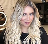 abordables -perruque femmes coiffures mi-point doré dégradé teint longs cheveux bouclés ensemble de perruque en soie haute température