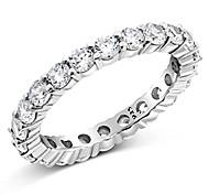 economico -sz (12) 3,50 mm argento sterling 925 cubic zirconia cz eternity anello di fidanzamento a fede nuziale