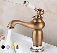 economico -rubinetto del lavandino del bagno - rame antico diffuso, oro, cromo, nero beccuccio standard maniglia singola un foro placcato centre