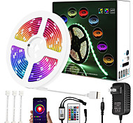 economico -aggiornamento 32ft 10m musica dimmerazione sincrona controllo app intelligente impermeabile 5050 rgb led strip light con controller bluetooth chiave ir24 o con kit adattatore dc12v