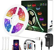 abordables -mise à niveau 32ft 10m musique gradation synchrone contrôle intelligent d'application étanche 5050 rgb led bande lumineuse avec contrôleur bluetooth clé ir24 ou avec kit adaptateur dc12v