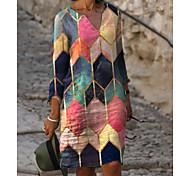 abordables -Femme Robe Fourreau Robe Longueur Genou Arc-en-ciel Manches 3/4 Bloc de Couleur Imprimé Printemps & Automne Col en V chaud Elégant robes de vacances 2021 M L XL XXL 3XL
