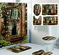 abordables -impression de motif de jardin frais rideau de douche de salle de bain toilettes de loisirs conception quatre pièces