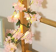 abordables -1x 2m 20leds fleurs de cerisier roses artificielles fleur LED guirlande lumineuse AA alimenté par batterie pour le mariage Noël Nouvel An fête décoration guirlande éclairage blanc chaud (livré sans