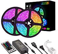 economico -Strisce luminose a led 2 * 5m luci tiktok rgb 2835600 led 8mm 36w striscia flessibile a led con kit telecomando ir 44key e alimentatore 12v 2a ac110-240v