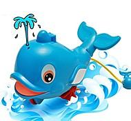 abordables -jouet de bain de bébé, jouet de douche de natation de baignoire de dauphin de vent de jet d'eau pour des enfants bleu bébé