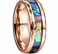 economico -Fedi nuziali con intarsi in conchiglia da 8 mm bordi sfaccettati in oro rosa promettono anelli di alta lucidatura taglia 10