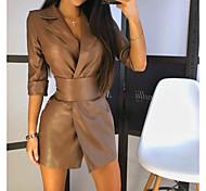 economico -Per donna Abito linea A Mini abito corto Nero Marrone Manica a 3/4 Tinta unica Autunno Inverno Colletto Casuale 2021 S M L