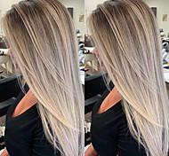 abordables -perruque synthétique droite partie latérale perruque longs cheveux synthétiques gris 26 pouces parti des femmes mis en évidence / balayage gris foncé