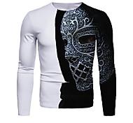 abordables -Homme T-shirt Impression 3D Graphique 3D Manches Longues Quotidien Hauts basique Noir / Blanc Blanche Bleu