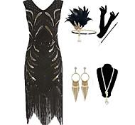 economico -Il grande Gatsby 1920s Vintage ▾ vestito da vacanza Vestito del flapper Completi Stile Carnevale di Venezia Abito da ballo Per donna Nappa Costume Dorato / Nero Vintage ▾ Cosplay Feste Graduazione