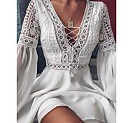 economico -Per donna Abito linea A Mini abito corto Bianco Nero Rosso Manica lunga Tinta unica Con balze Collage Primavera Estate A V caldo Sensuale 2021 S M L XL XXL