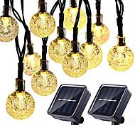 abordables -2pcs guirlandes solaires 20 LED 5m lumières de patio solaires avec 8 modes lumières de chaîne de boule de cristal étanche pour patio pelouse fête de mariage décorations de jardin