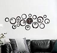 abordables -bricolage géométrie bulle miroir horloge murale décoration circulaire silencieux mur autocollant horloge acrylique mode créative montre murale horloge