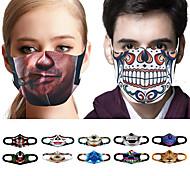 abordables -10 pcs Couvre-visage Masque Visage Anti-Poussière Casual Tricot Quotidien Anti-Poussière Halloween Spoof Squelette Impression 3D