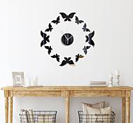 abordables -3D bricolage horloge murale papillon chiffres horloge sans cadre miroir autocollant mural décor à la maison pour salon chambre