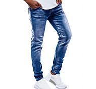 abordables -Homme basique Toile de jean Mince Quotidien Sortie Jeans Pantalon Couleur Pleine Toute la longueur Troué Bleu