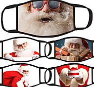 abordables -5 pièces couverture de masque facial anti-poussière coton rouge et blanc usure quotidienne anti-poussière Noël