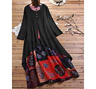 economico -abito da donna plus size altalena maxi abito lungo nero arancione manica lunga stampa patchwork autunno estate girocollo abiti da vacanza casual caldi 2021 m l xl xxl 3xl 4xl 5xl