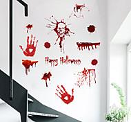 abordables -3D Horreur Sang Empreinte De Main Halloween Stickers Muraux Stickers Muraux Décoratifs, PVC Décoration De La Maison Sticker Mural Décoration Murale / Amovible 45 * 30 cm