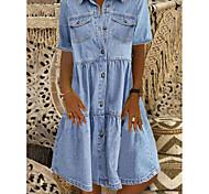 economico -Per donna Abito camicia di jeans Abito al ginocchio Blu Blu scuro Manica corta A quadri Tasche Estate Colletto caldo Casuale 100% cotone 2021 S M L XL XXL 3XL