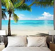 abordables -tapisserie murale art déco couverture rideau pique-nique nappe suspendue maison chambre salon dortoir décoration fibre de polyester série de plage cocotier mer bleue nuage blanc ciel bleu