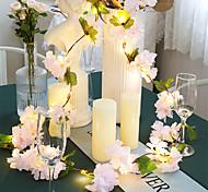 abordables -1x 2m 20leds fleurs de cerisier roses artificielles fleur LED guirlande lumineuse AA alimentée par batterie pour le mariage Noël Nouvel An fête décoration guirlande éclairage blanc chaud (livré sans