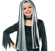 abordables -Perruques de Déguisement Witch Droit Partie médiane Perruque Très long Noir blanc Cheveux Synthétiques Femme Animé Cosplay Exquis Couleur mixte