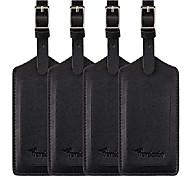 economico -Confezione da 4 etichette per borsa da viaggio in pelle di colore nero