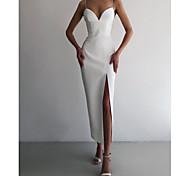 abordables -Fourreau / Colonne Sexy Moulante Retour Vêtements de fête Robe Col en V Sans Manches Longueur Cheville Spandex avec Fendue 2021