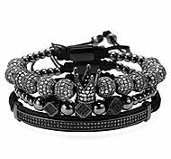 abordables -8mm Couronne King Charm Perles Bracelet Couronne Impériale King 18K Or Pulseira Bracelet Pour Hommes Femmes Bracelet (M)