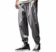 abordables -Hommes occasionnels taille élastique hippie hallen lâche couleur pure en plein air jogger salopette de sport pantalon long m-3xl gris foncé