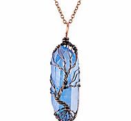 abordables -arbre de vie 7 chakra pierres précieuses fil de cuivre wrap collier pendentif en cristal de quartz clair irrégulier (bronze titane enduit bleu)