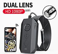 economico -Endoscopio wireless per endoscopio a doppia lente 10m1080p con telecamera per ispezione a 8 luci a led Telecamera per serpente zoomabile per Android& Cavo rigido per tablet ios 10m
