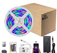 economico -5m smart wifi strisce luminose led rgb tiktok luci smd 2835 9mm luce con 24 tasti 300led ip65 impermeabile dc12v con alimentazione 2a eu