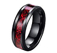 abordables -Bague de dragon celtique noire en fibre de carbone rouge de 8 mm pour hommes bande de mariage à bords biseautés (13)