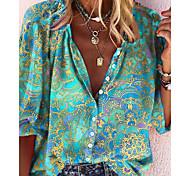 economico -Per donna Blusa Camicia Fantasia floreale Astratto Fiore decorativo Manica lunga Con stampe A V Top Essenziale Top basic Blu / Verde Nero Blu