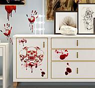 abordables -horreur sang empreinte de main halloween stickers muraux stickers muraux décoratifs, pvc décoration de la maison sticker mural décoration murale / amovible 30 * 45 cm