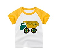 economico -Bambino Da ragazzo T-shirt Manica corta Monocolore Con stampe Giallo Cotone Bambini Top Essenziale