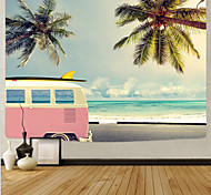 abordables -tapisserie murale art déco couverture rideau de pique-nique nappe suspendue maison chambre salon dortoir décoration série de plage en fibre de polyester bleu ciel cocotier nuage blanc voiture rose