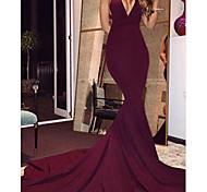 abordables -Trompette / Sirène Jolis Dos Sexy Invité de mariage robe ceremonie Robe Col en V Sans Manches Traîne Tribunal Spandex avec Lisse 2021