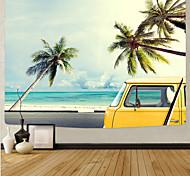 abordables -tapisserie murale art déco couverture rideau pique-nique nappe suspendue maison chambre salon dortoir décoration série de plage en fibre de polyester ciel bleu cocotier nuage blanc voiture jaune