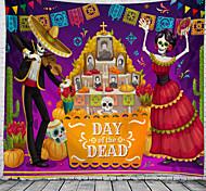 abordables -jour des morts mexique vacances fête mur tapisserie art décor couverture rideau pique-nique nappe suspendus maison chambre salon dortoir décoration commémoration jour polyester