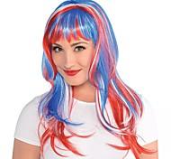 abordables -Perruques de Déguisement Glamorous Long Red, Bouclé Avec Frange Perruque Longue Arc-en-ciel Cheveux Synthétiques Femme Animé Cosplay Exquis Couleur mixte