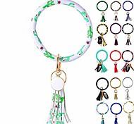 abordables -bracelet porte-clés bracelet, porte-clés pompon en cuir porte-clés bracelet cercle porte-clés bracelets pour femmes et filles