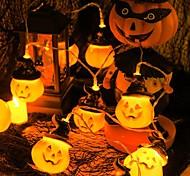 abordables -halloween guirlande lumineuse 1.5m 10leds décoration de vacances chapeau de citrouille guirlande lumineuse halloween guirlande lumineuse à piles fantôme lanterne festival led guirlande lumineuse
