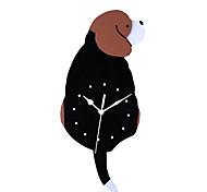 abordables -Horloge murale cuisine familiale numérisation silencieuse acrylique dessin animé créatif mignon chien horloge murale décoration de la maison queue va bouger