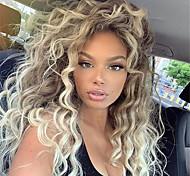 abordables -Perruque Synthétique Bouclé Ondulation Partie médiane Perruque Longue Blond Cheveux Synthétiques 26 pouce Femme Frais Duveteux Blond